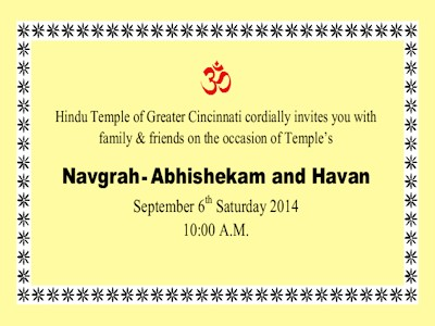 ** EXPIRED ** Navgrah – Abhishekam and Havan – Sept 6th, 2014