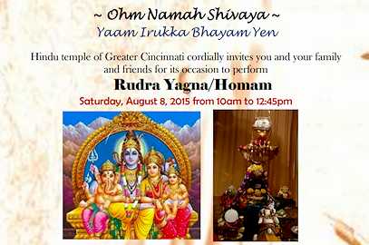 Rudra Yagna / Homam – Saturday, August 8, 2015