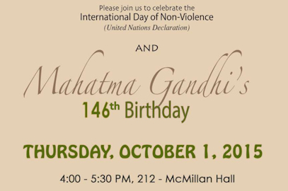 International Day of Non-Violence and Mahatma Gandhi's 146th Birthday – October 1st, 2015