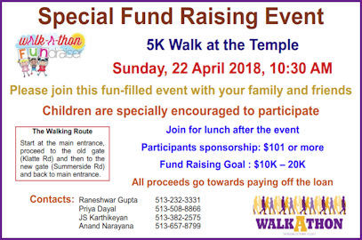 5K Walk at the Temple – April 22, 2018